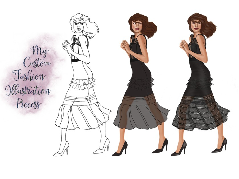 Custom Fashion Illustration Process - Sublime Cravings