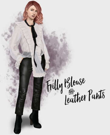 frilly-blouse-and-leather-pants