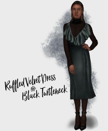 ruffled-velvet-dress-and-black-turtleneck